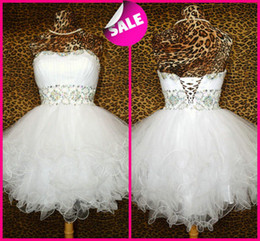 Wholesale Cheap Shiny Party Dresses Short - Summer Fall Short Fluffy Cheap Ball Gown Homecoming Prom Party Dresses For Junior Girls Shiny Beaded Lace up White Tulle Formal Mini Gowns