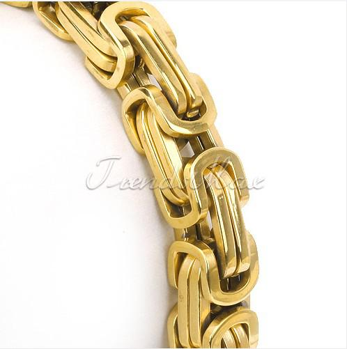 18K gold plated byzantine chain stainless steel bracelet for Men's cool jewelry Free ship.Good Quality 8mm*22cm