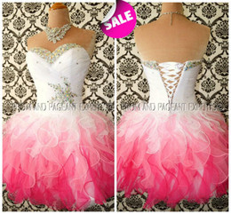 Wholesale Cheap Sexy Lace Ball Gowns - Multi Color White and Pink Ombre Corset and Tulle Shiny Beaded Cheap Homecoming Prom Dresses 2016 Fall Formal Party Wear Fancy Lovely Gowns