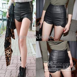 2017 Fashion High Waist Pu Leather Shorts Slim Black Tight Side ...