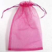 Wholesale Gift Bags Paper Big - Hot Pink Color Organza Bags 20X30 cm Jewelry Gift Bag Wedding Favors Big Size Hot