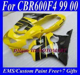1999 Cbr F4 Fairings Black Canada - Customized Fairing set for HONDA CBR600F4 99 00 CBR600 F4 1999 2000 CBR 600 F4 600F4 CBR600 yellow black Fairings body kit HP32