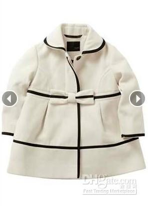 for sale new images of best place European Baby Girls Winter Wool Coats Kids Girl Stylish Bowknot Bow Trench  White Coat Children's Princess Outwear 3 8years Kids Parka Coats Boys ...