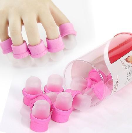 50 unidades / set Wearable Salon DIY Nail Acrylic UV Gel Removedor de esmalte Soak Soakers Cap herramienta Dropshipping