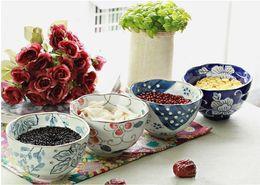 Wholesale Blue White Antique Porcelain - Antique Blue and White Japanese Rice Bowl Asian Lifestyle Hand-painted Flower Design 5 inch Porcelain Soup Bowls Set of 4