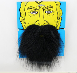 schwarzes bartkostüm Rabatt Halloween-Partei-Satz gefälschte schwarze weiße Augenbraue-Schnurrbart-Bart-selbstklebendes Gesichts-Haar-Kostümkugel bilden freies Verschiffen