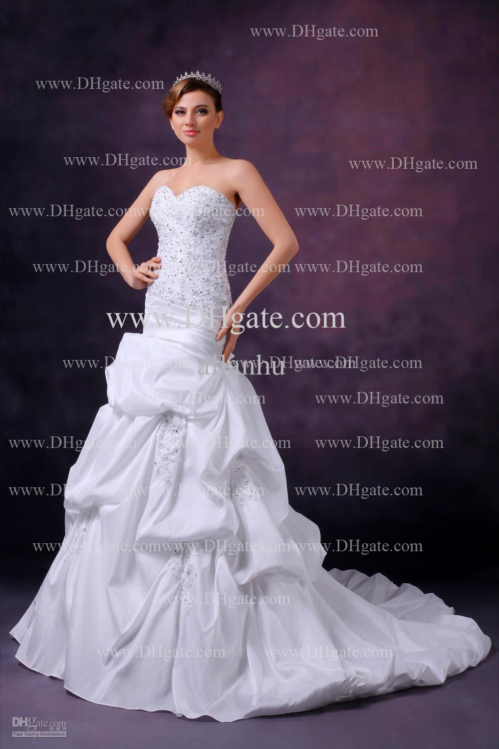2014 New Amazing Elegant Sexy Sweetheart Bridal Gown With Applique Beads Ruffles A-line Satin Wedding Dress DHgate0865