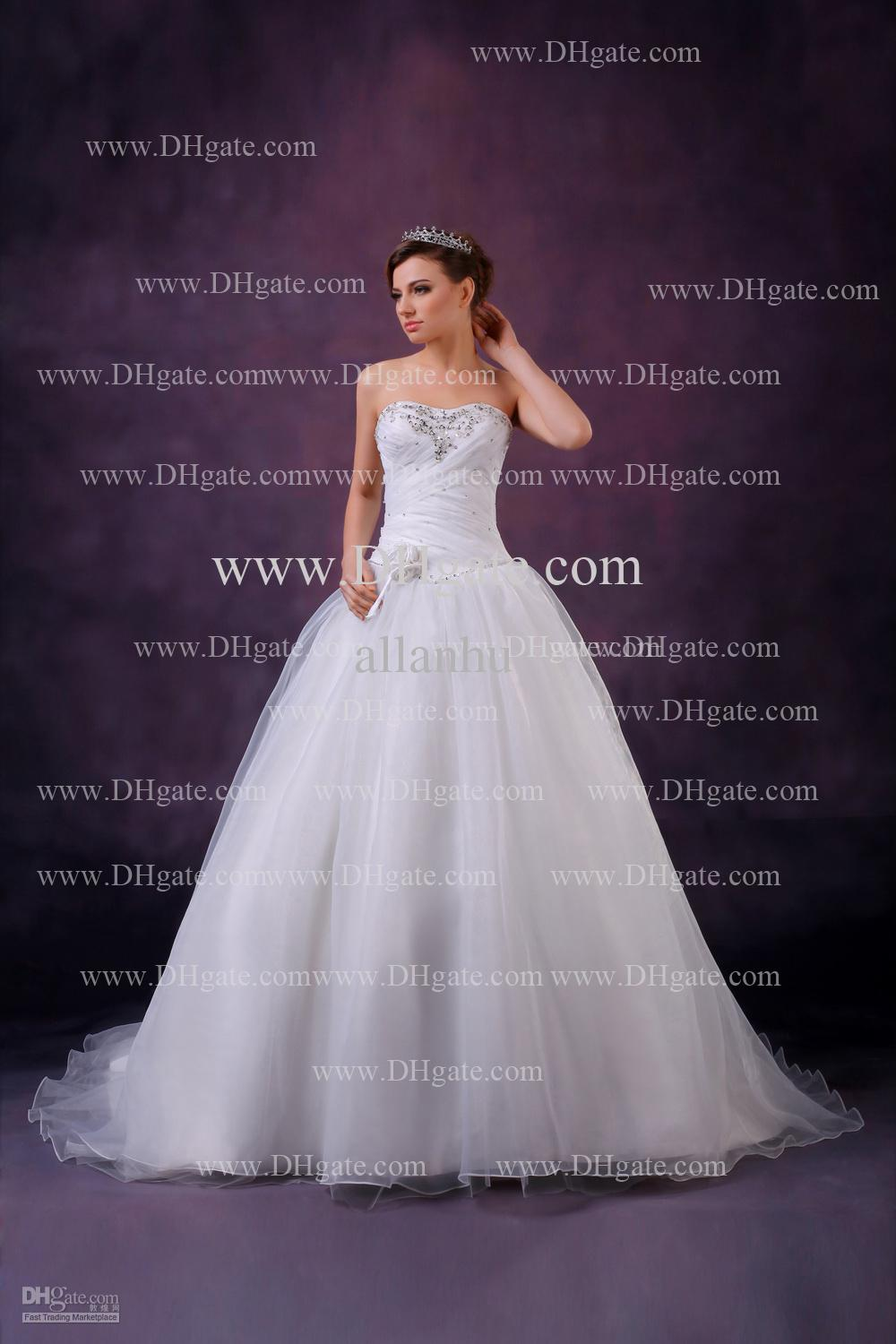 2014 New Amazing Elegant Sexy Sweetheart Bridal Gown With Applique Beads Ruffles A-line Tulle Wedding Dress DHgate0884