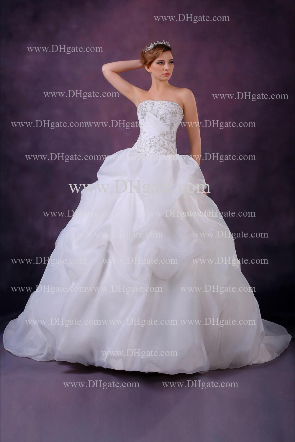 2014 New Amazing Sexy Sweetheart Bridal Gown With Applique Beads Ruffles Ball Gown Wedding Dress DHgate0917