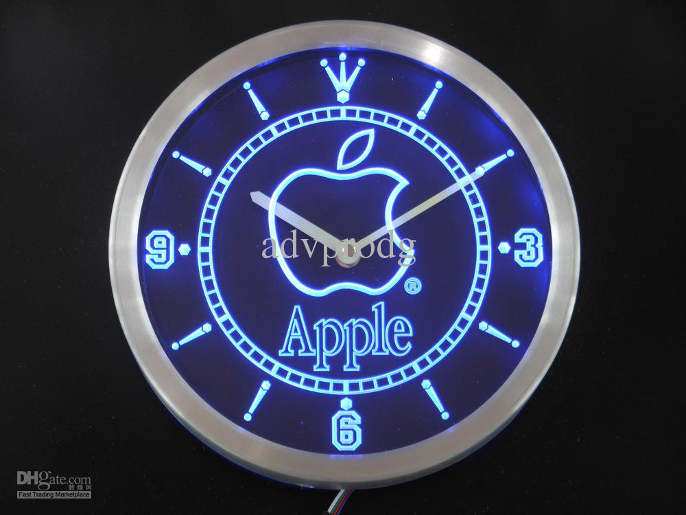 Nc0435 Apple Neon Sign Led Wall Clock Clocks Large Wall Clocks