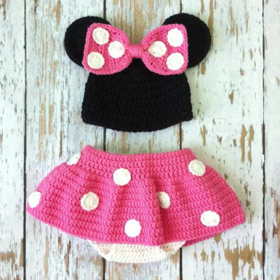 2018 Handmade Crochet Pink Minnie Mouse Crochet Photo Prop Outfit