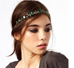 Wholesale Metal Chain Hair Band - F-0117 New In Europe Style Gold Plated Metal Chain Green Crystal Rhinestone Flower Gem Hair Bands Adjustable 6pcs lot
