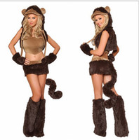 Wholesale Sexy Carnival Clothing - 2013 Adult Sexy Women Cosplay Brown Animal Naughty Monkey Costumes Carnival Day Uniforms Halloween Clothes Six Sets Gift