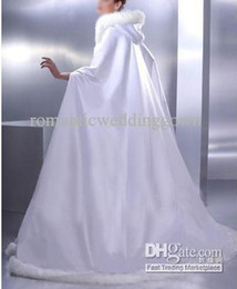 Wholesale Silver Faux Fur Bolero Jacket - White Plus Robe Cape Dress, Hood Covered by Undetachable Faux Fur, Warm for Winter Wedding Dress