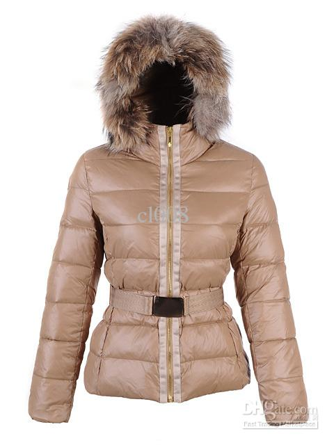 2018 Designer Women Down Jackets Brown Faux Fur Trim Hoodie Jacket ...