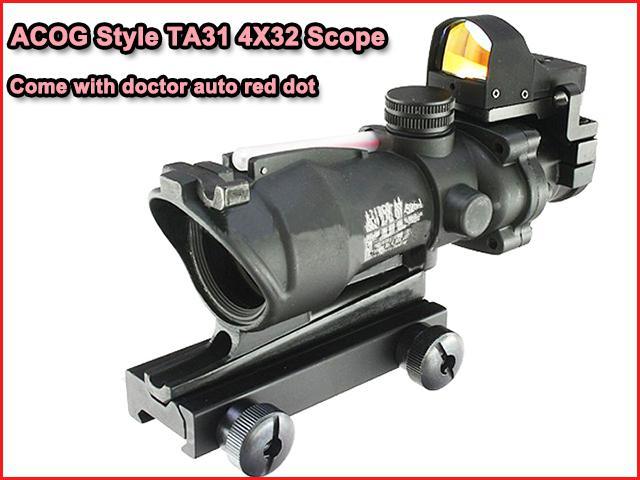 Тактический Ta31 ACOG 4x32 прицел с авто красная точка прицел черный