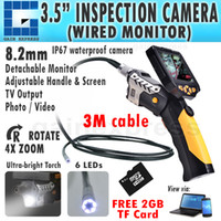 "Wholesale Video Inspection Camera Cable - N04NTS-200_3M Detachable 3.5"" LCD Video Inspection Camera Borescope Endoscope SnakeScope 8.2mm diameter + 3M Cable + 2GB MicroSD card"