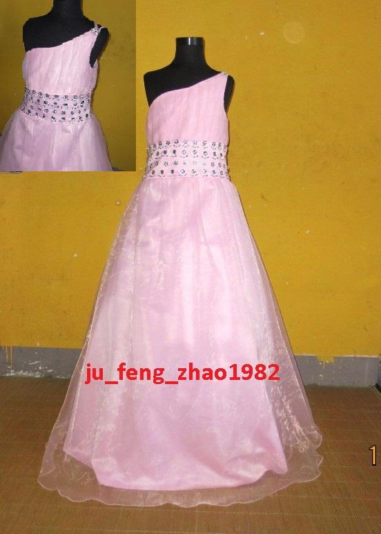 floor length light pink one shouldered dresses with flowers