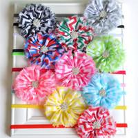 Wholesale Shabby Chevron - Shabby Chevron Flower Headband with thin Chiffon Flower Elastic Headband 10 COLOR Newborn Photography Props 240PCS LOT QueenBaby