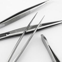 Wholesale forceps tweezers - Supernova Sale Stainless Tweezer Stainless Steel Fine Tip Straight Forceps Manicure Tweezers Nail Art Tool T320