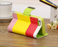 Wholesale Magnetic Case Iphone 5c Credit - Multi-Color Stripe Wallet Credit Card Holder Flip Folio Stand Leather Case Cover Pouch for iPhone 4 4G 4S 5 5G 5S 5C Magnetic Cases