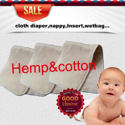 US Free Shipping 200 pcs 4 layers(2+2) Reuseable Washable Hemp Organic Cotton Insert Baby Cloth Diaper Nappy Inserts