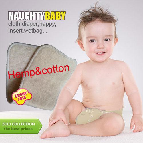 US Free Shipping Promotion 100 pcs 3 layers Reuseable Hemp Organic Cotton Insert Baby Cloth Diaper Nappy Inserts