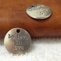 "Wholesale Lettering Metal Bracelet - NEW 50pcs 20mm Antique Silver Metal Alloy Lettering ""BELIEVE IN LOVE"" hang tag Charms Jewelry Pendant Fit DIY Bracelets Making"