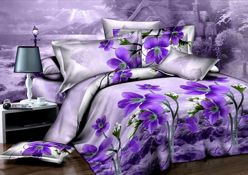 Purple Orchid Flower Unique Duvet Quilt Cover Modern Queen