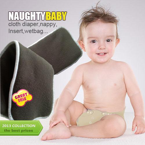 top popular US Promption Free shipping 200 pcs Reuseable Charcoal bamboo Insert 5 Layers are all charcoal bamboo Baby Cloth Diaper pads Nappy Inserts 2020