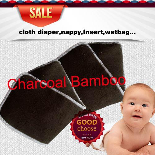 best selling US Free Shipping 200 pcs 4 layers (2+2) Reuseable Charcoal bamboo Insert Reusable Baby Cloth Diaper Pads Nappy Inserts