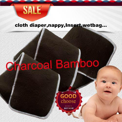 US Promption Free shipping 50 pcs Reuseable Charcoal bamboo Insert 5 Layers (3+2) Baby Cloth Diaper Nappy Inserts