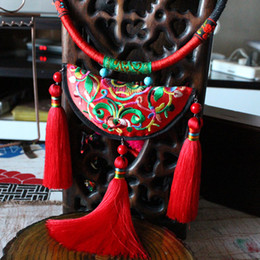Wholesale Embroidery Earrings - Southland ancient Chinese style national wind original handmade jewelry tassel necklace retro short paragraph festive embroideries