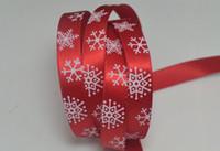 "Wholesale Christmas Hair Ribbon Wholesale - 3 8""(9mm),green red Christmas Snowflakes 100yards children Hair Bow DIY satin ribbons"