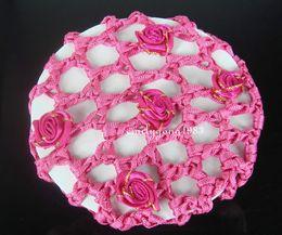 rosas crochê Desconto Chegam novas Handmade 100 Pcs Rose Bun Capa Baixada Cabelo Net Ballet Dança Patinação Crochet Belas Cores Frete Grátis