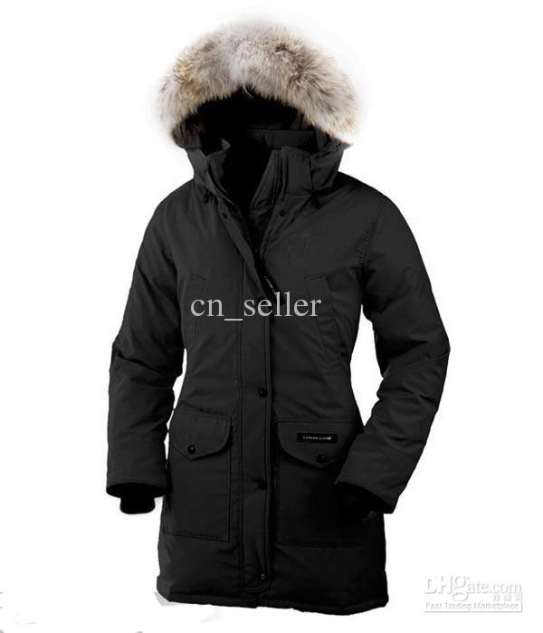 New Designer Women Down Jacket Faux-fur trim hooded jacket Mid-thigh Length  outdoor b3622bf1d4
