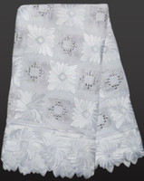 Wholesale African Swiss Voile Lace White - Free shipping High Grade plain white lace soft 100% cotton lace Swiss Voile Lace African Lace Fabric for wedding 3029