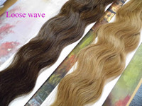 Wholesale Stick I Tip Wholesale - MIRACLE LOOSE WAVE stick I tip hair extensions INDIAN REMY HAIR 18 20 22 24 inch