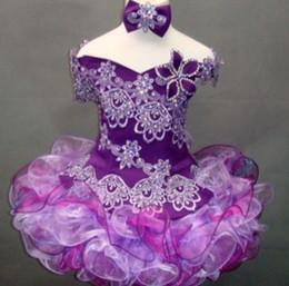 Vestidos de bola roxa curta on-line-Frete grátis New arrival Roxo Organza Acima do joelho / Mini vestido de Baile Vestido Com Decote Em V Beading / Bordado Curto Pageant Vestidos Da Menina Flor