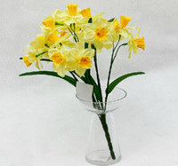 Wholesale Wholesale Silk Flowers For Christmas - Artificial Narcissus Silk Flowers Simulation Daffodils 7 stems piece for Home Decoration Wedding Party Centerpieces Flower