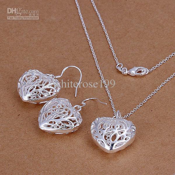 Großhandel - niedrigster Preis Weihnachtsgeschenk 925 Sterling Silber Fashion Halskette + Ohrringe Set QS071