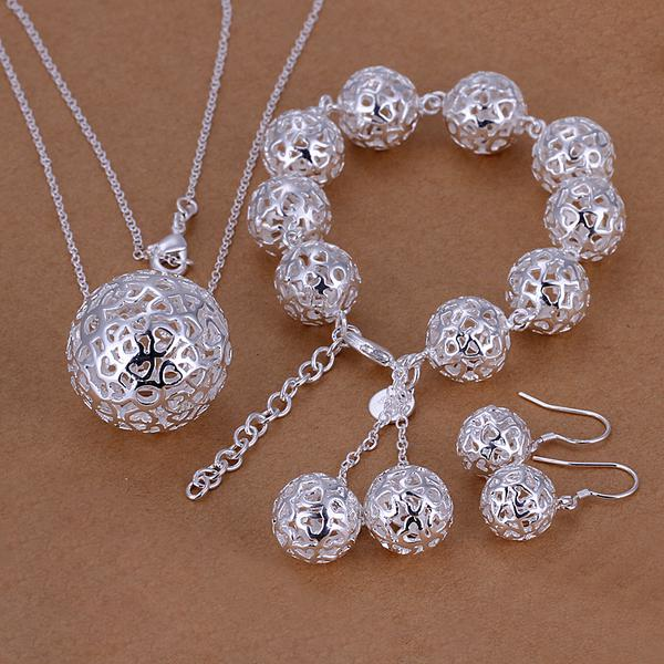 Wholesale - lowest price Christmas gift 925 Sterling Silver Fashion Necklace+Earrings set QS072