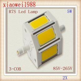 Wholesale R7s Cob - 2X 2013 new products high power and high lumen aluminum alloy 3-COB LED AC85-265V 5w led r7s lamp