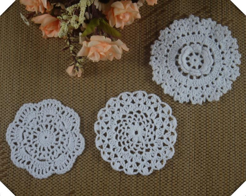 Wholesale 3d Rose Round Crochet Pattern Doily Hand Made Crochet Cup