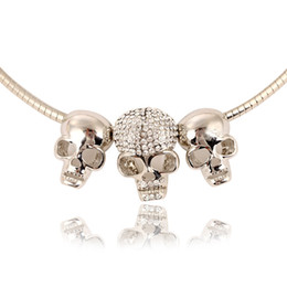 Wholesale Crystal Skull Rhinestone Necklace - Tim hot ladies alloy skull chokers necklace fashion rhodium plated snake chain rhinestones charm skeleton necklace & pendant accessories
