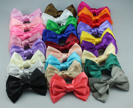 Wholesale Grosgrain Bows Barrette Satin - 100pcs Hair Clips Hairpin Ribbon Bow Grosgrain Satin Bow Gift for girl Mix colours