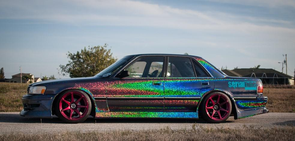 2018 New Rainbow Glitter Effect Vinyl Wrap Car Wrapping