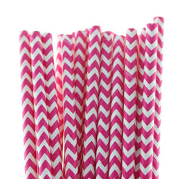 Wholesale Chevron Paper Yellow Straws - PROMOTION Biodegradable Pink Yellow Blue Chevron Paper Drinking Straws for Wedding Birthday Party Drinking Soft Drinking FREE SHIPPING
