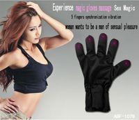 brinquedos adultos de choque venda por atacado-5 dedo adulto vibrando massagem luvas à prova d 'água, brinquedos do sexo para o sexo feminino, mão direita preto, luvas de massagem magia de choque