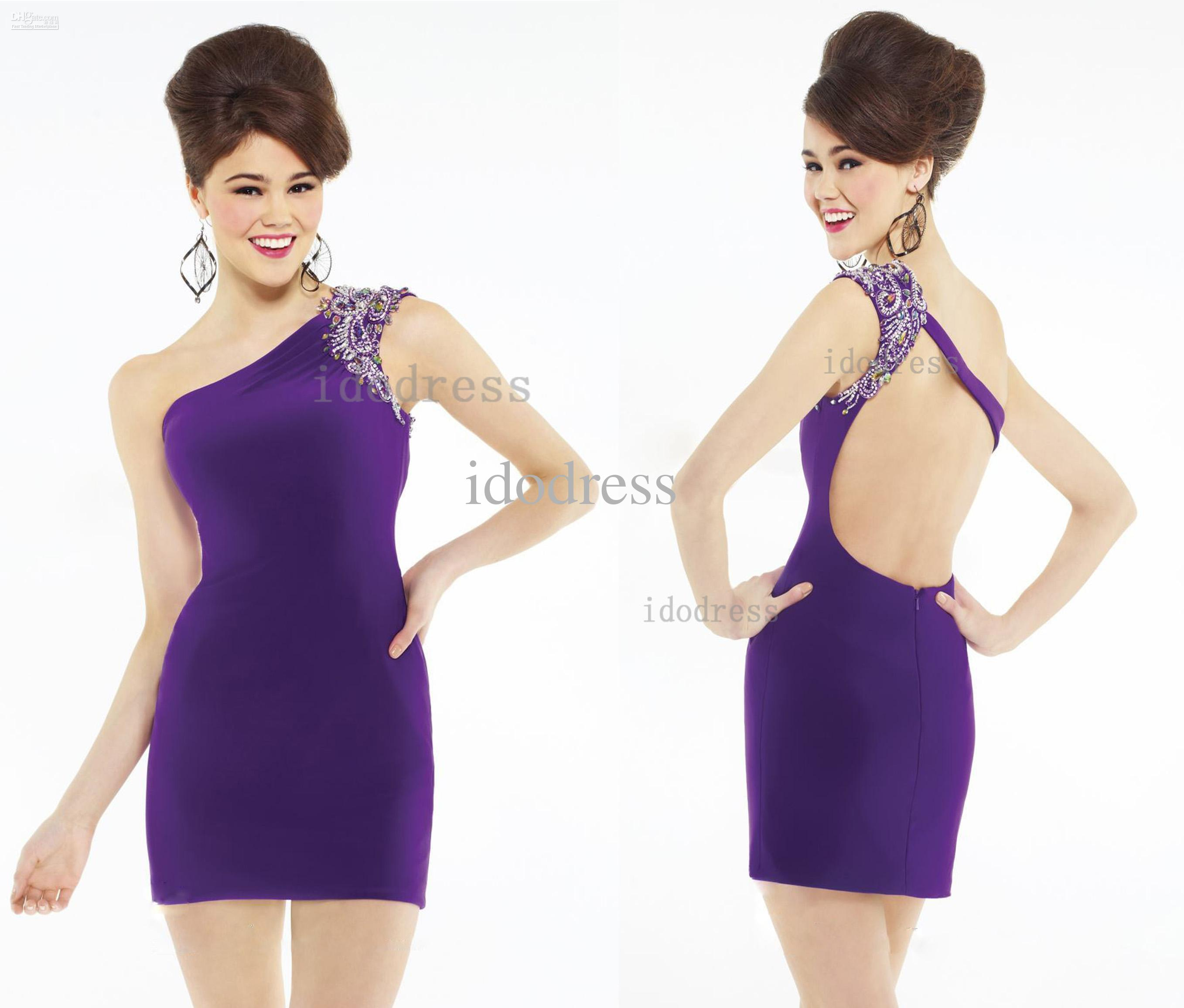 Top Selling Purple Backless Cocktail Dresses Sheath One Shoulder ...